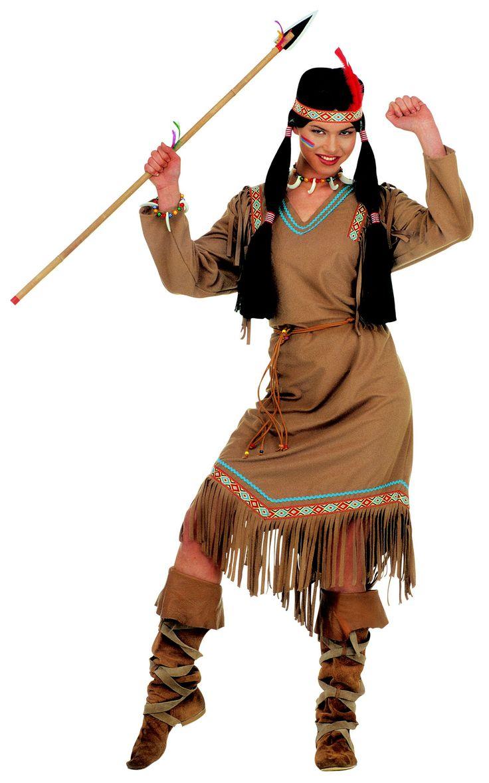 Déguisement indienne femme : Ce déguisement d'indienne pour femme se compose de3 pièces. Une robeavec de longues manches couleur peau ainsi qu'une ceinture. Un serre tête avec une plume viennent renforcer l'image...