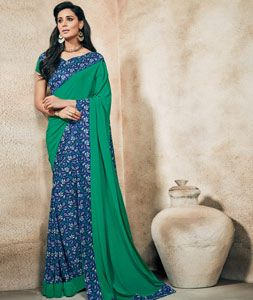 Buy Green Crepe Printed Saree With Blouse 73991 with blouse online at lowest…
