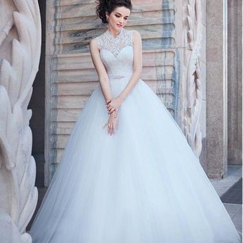 [115.99] Stunning Lace & Tulle Illusion High Neckline Ball Gown Wedding Dress - Dressilyme.com