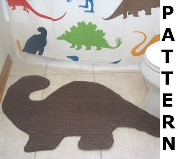 When Redecorating My Sons Bathroom In A Dinosaur Theme I Couldnt Find A Bath Mat That I Liked So I Made My Own And N Crochet Rug Dinosaur Rug Crochet Dinosaur