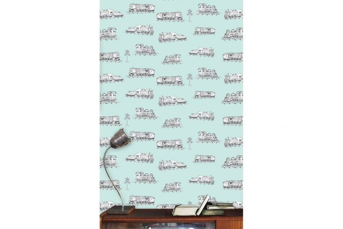 Vintage Trains Wallpaper panel by Design Kist on hellopretty.co.za