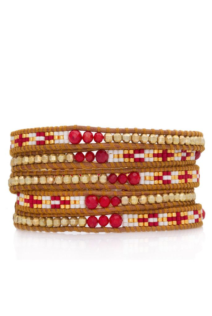Navajo Patterned Gold and Red Coral Mix Triple Wrap Bracelet