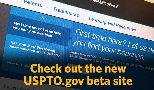 screenshot of USPTO.gov beta site