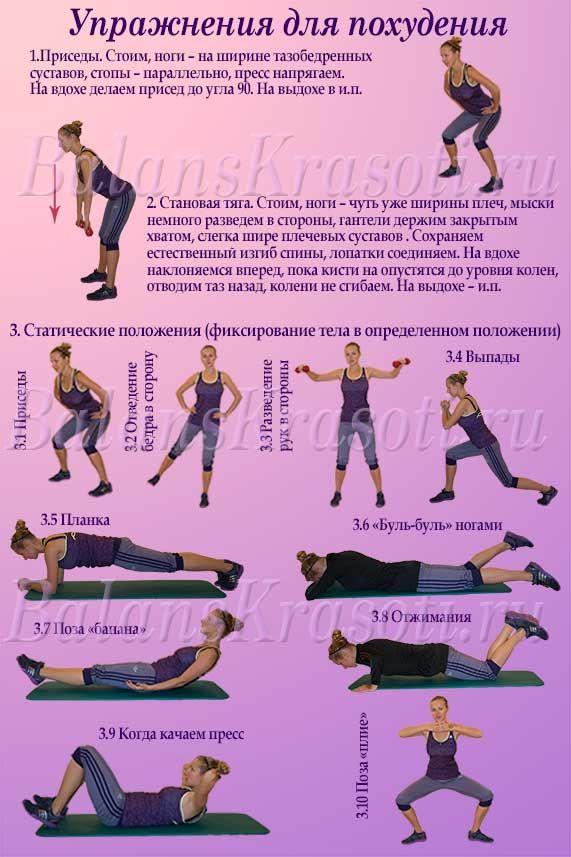 Упражнения для похудения. Начинаем заниматься спортом и готовиться к весне. А приведенный комплекс упражнений обязательно поможет.