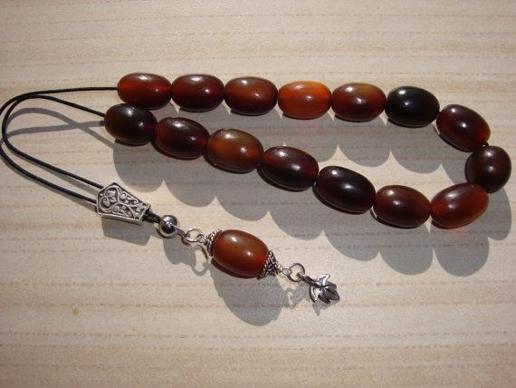 Handmade worry bead  from water buffalo horn brown by LeFuCycliste