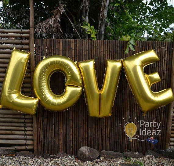 Gold LOVE Foil letter Balloons  16/ 32/ 40