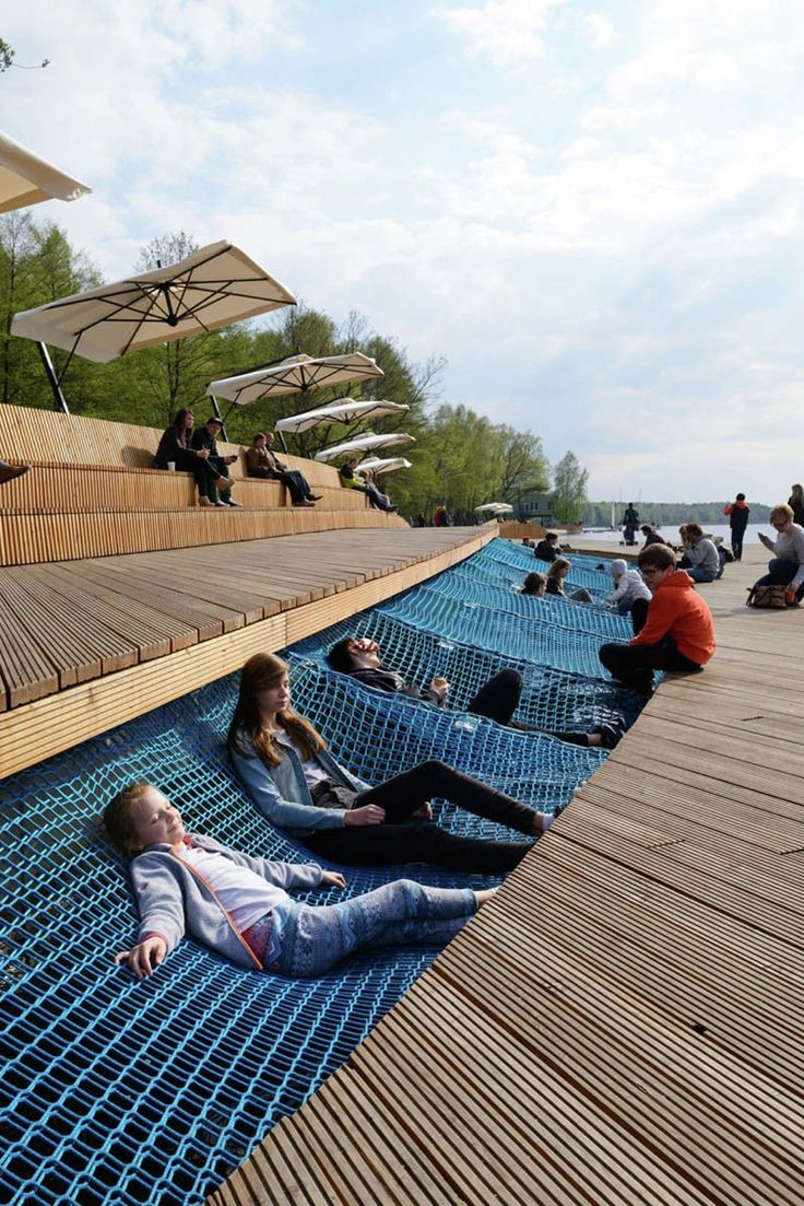 Walkway with lying nets by RS+ design, Paprocany Lake,  Poland. Click image for full profile and visit the slowottawa.ca boards >> http://www.pinterest.com/slowottawa