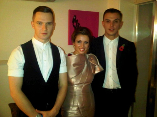 Dannii Minogue in Philip Armstrong with Hurts in Armani.
