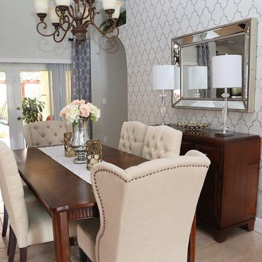 A DIY Stenciled Dining Room Accent Wall In Cream And Metallic Silver Using  The Marrakech Trellis