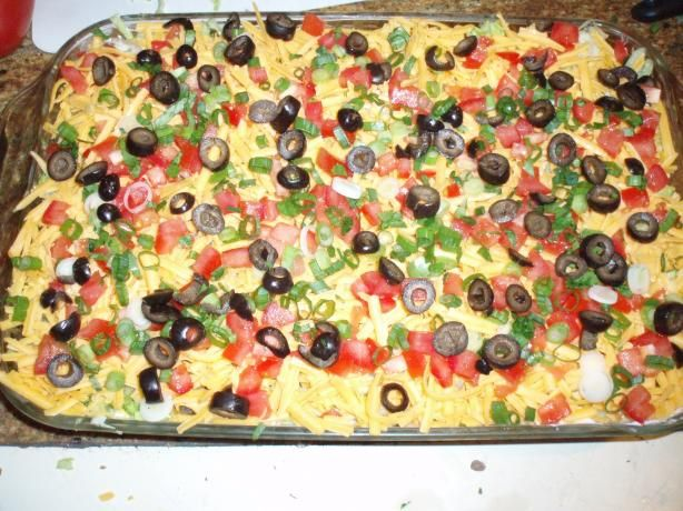 Taco Dip!!! I LOVE IT!!!! Layer in a glass pan or on a cookie sheet ...