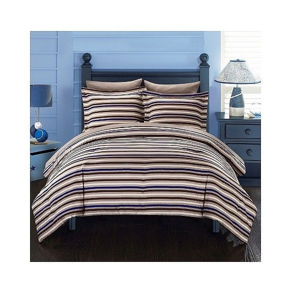 Rianne Striped Printed Reversible Comforter Set 5 Piece ($129) ❤ liked on Polyvore featuring home, bed & bath, bedding, brown, brown bed in a bag, brown striped bedding, striped bed linen, brown stripe bedding and brown bedding
