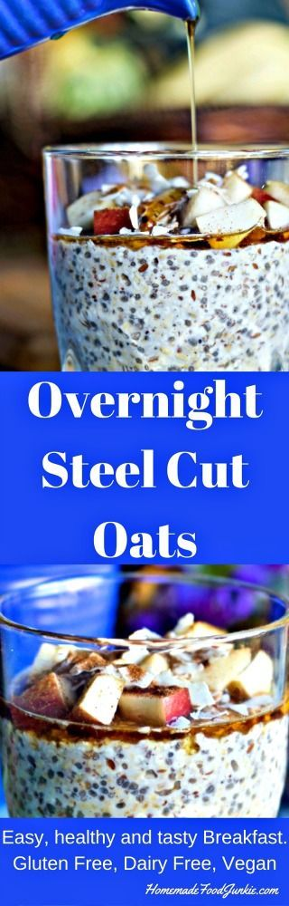 Overnight Steel Cut Oats is quick N easy to make. No crockpot required. Just assemble and refrigerate overnight. Make the simple topping at serving and enjoy a yummy healthy breakfast.