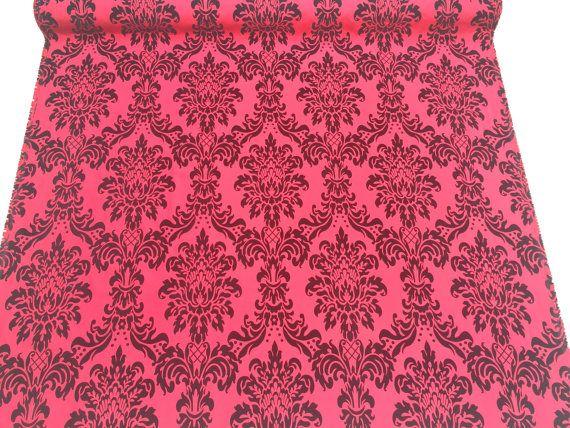Red taffeta fabric Gothic Victorian Damask by TheFabricShopUK