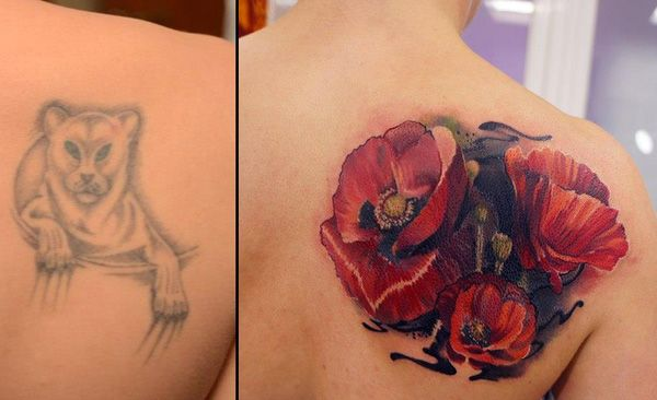 Flower cover up tattoo by Andrey Grimmy - Since the lioness tattoo is fading, it's much simpler to cover it up with a colorful tattoos or those with darker shades. Women usually go with flower designs since there's an excuse to use up all the space for coloring and shading. And these are extremely beautiful.