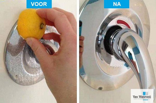 Handige schoonmaaktip: Gebruik een citroen tegen watervlekken in de keuken en badkamer.