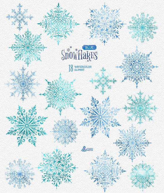 Snowflakes Blue. 18 Watercolor separate Elements, clipart, christmas, blue, mint, holidays, card, diy, invitation, snow, winter, decoration
