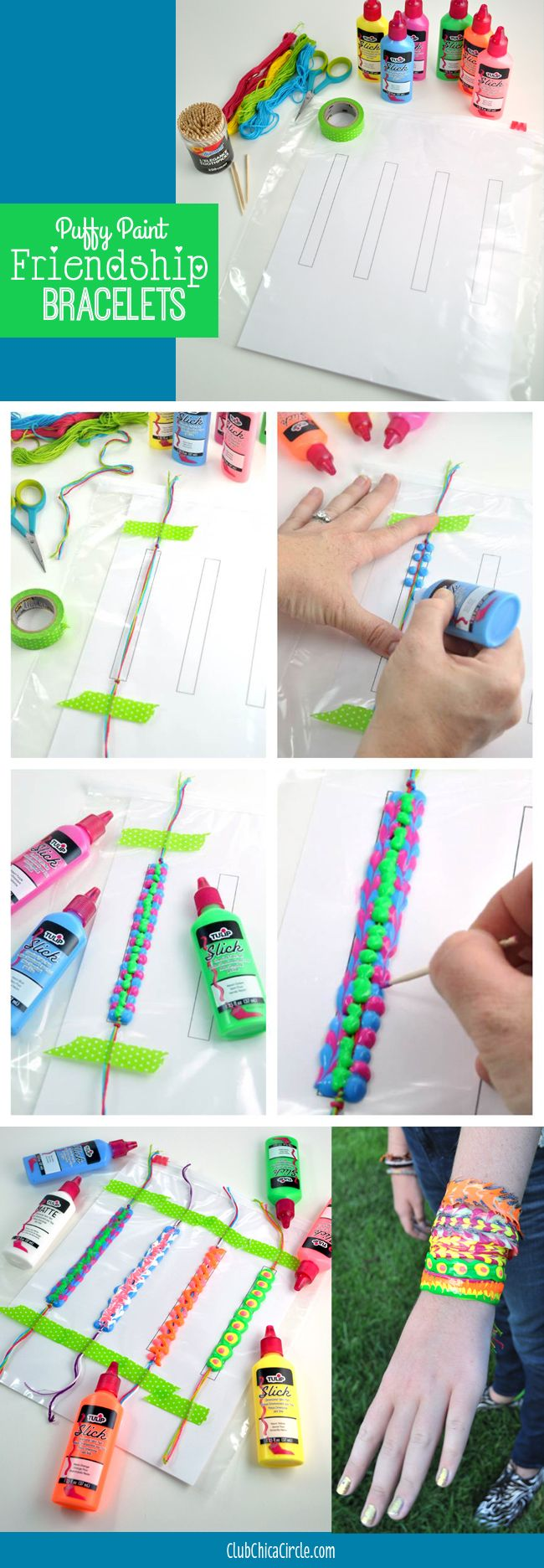 How to make a puffy paint friendship bracelet with Club Chica Circle