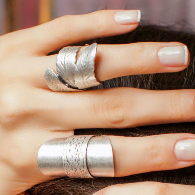 Boho Antique Silver Leaf Elegant Statement Fashion Large Unique Adjustable Ring #Takimania #Statement