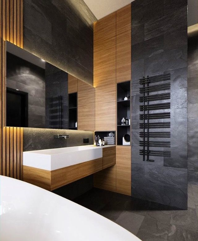 men bathroom tumblr%0A wood and black bathroom Loft style  Industrial style
