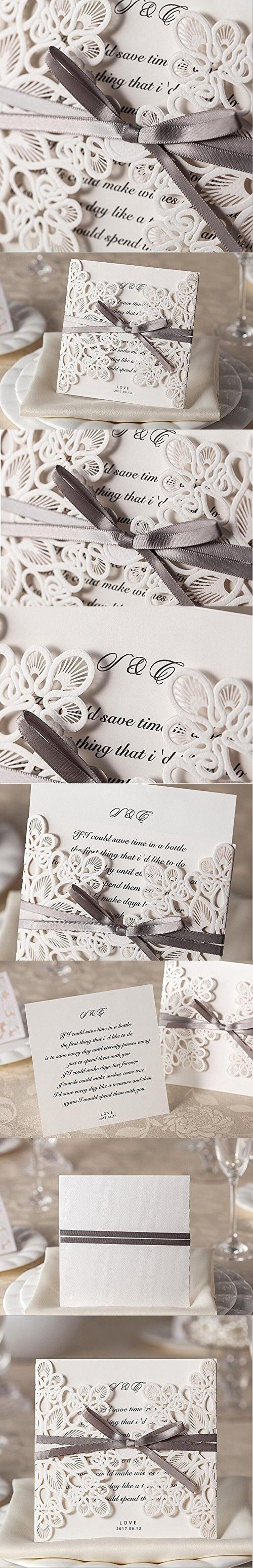 Doris Home Laser Cut Square Wedding Invitations Cards Kits With Bowknot  Hollow Favors Cardstock For Engagement