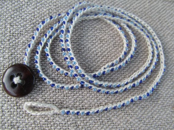 Blue beaded crochet bracelet by EvelynMaeCrochet on Etsy, $12.00