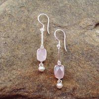 Rose Quartz, Pearl Earrings 740017
