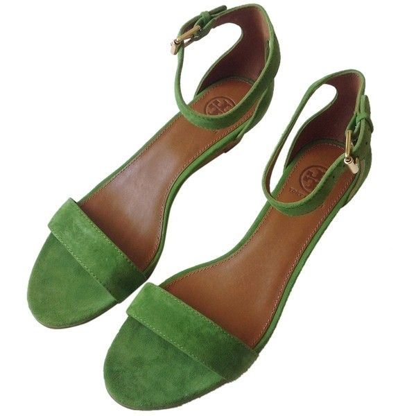 Pre-owned Tory Burch Savannah Suede Sandal Leaf Green Wedges ($172) ❤ liked on Polyvore featuring shoes, sandals, leaf green, tory burch, wedge heel sandals, suede shoes, green shoes and wedge sandals