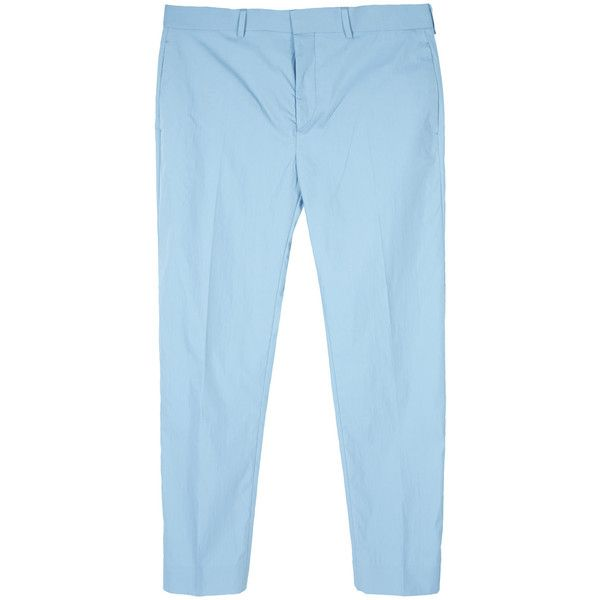 Acne Studios Mens Light Blue Slim Cotton Trousers ($315) ❤ liked on Polyvore featuring men's fashion, men's clothing, men's pants, men's casual pants, mens slim fit pants, mens light blue pants, mens cotton pants and mens slim pants