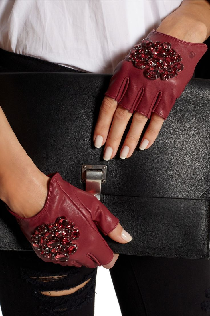 Black leather gloves with red buttons - Karl Lagerfeld Crystal Embellished Fingerless Leather Gloves Net A Porter