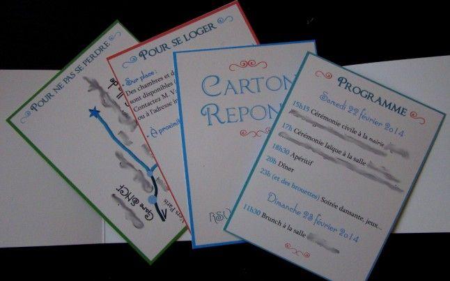 Cartons réponse faire-part mariage DIY