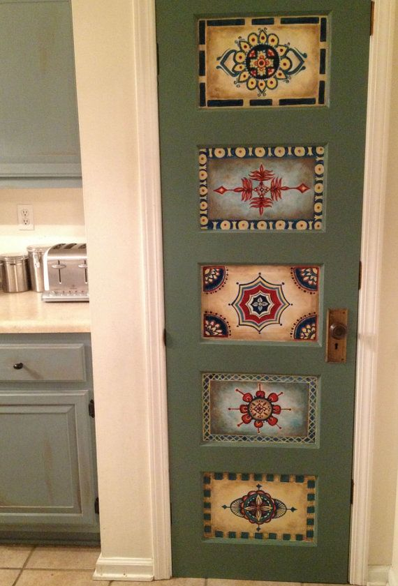 Wood door handpainted antique vintage wall by OneInAMillionFinds by Nicolette's One In A Million Finds
