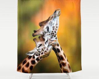 Giraffe, Couple, Animal, Shower Curtain, Curtain, Art Curtain, Bathroom  Curtain
