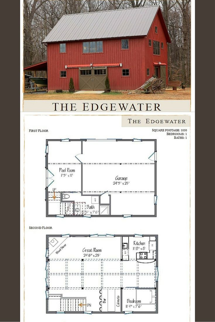 Small barn house the edgewater is 1050 sq ft 1 2 for Barn floor plan