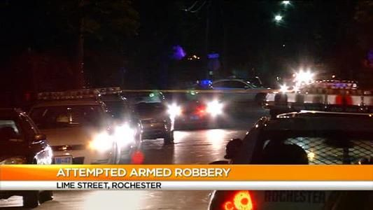 According to investigators, a 21-year-old man was walking when a suspect rode up to him on a bike, demanded his belongings and hit him with a revolver. Police say the suspect rode away and the victim was able to call 911 from a relative's house. The victim was taken to Strong Memorial Hospital with minor injuries. News10NBC learned when the relative found out about the robbery, they got a shot-gun and accidentally discharged it.