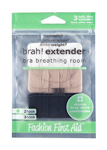 Brah! Extender: Bra Extender Band Breathing Room- Pack of 3 (White, Beige, Black) Fashion First Aid
