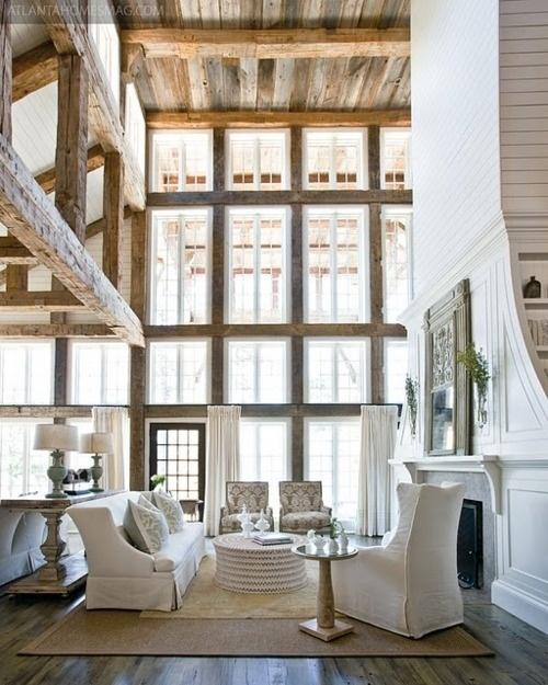 BeautifulDreams, Open Spaces, Expo Beams, Interiors, Living Room, High Ceilings, Windows, House, Wood Beams