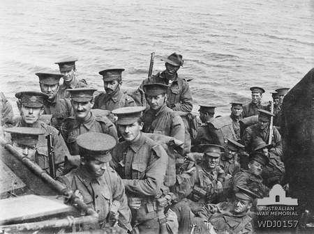 Australian soldiers on board the British destroyer HMS Beagle on their way to Gallipoli for the landing on the 25 April 1915.  HMS Beagle carried D Company, 9th Battalion, commanded by Captain J A ...