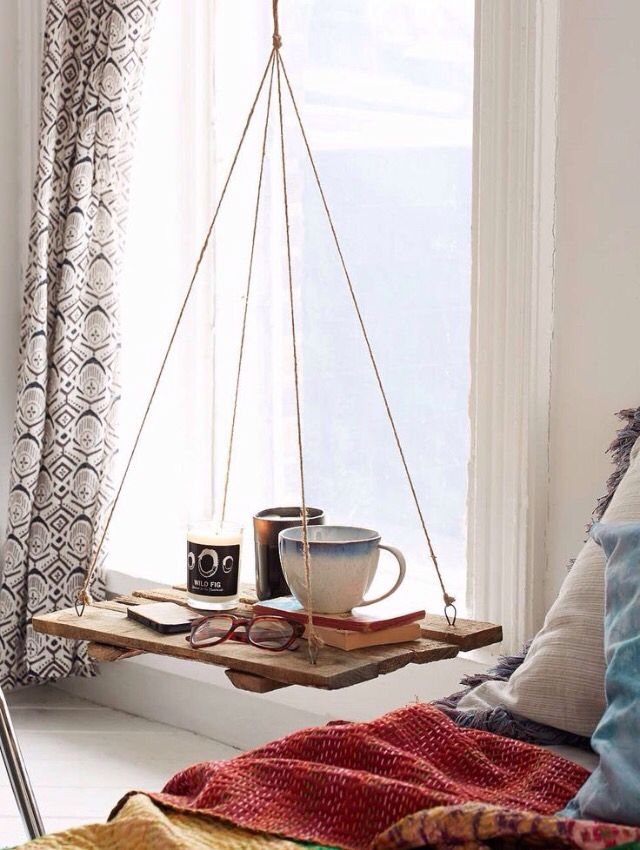 Good idea in girls bedrooms for bedside table since their beds won't allow bedside tables