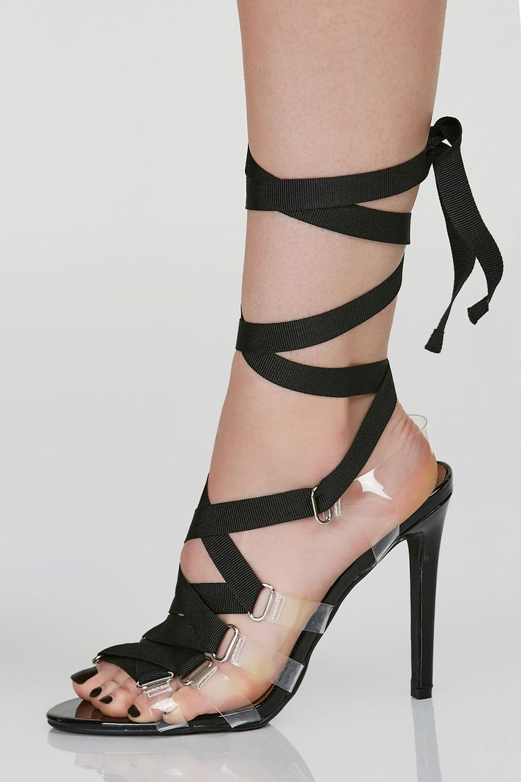 Sexy open toe heels with clear straps on each side. Contrast lace up design for fit and closure.