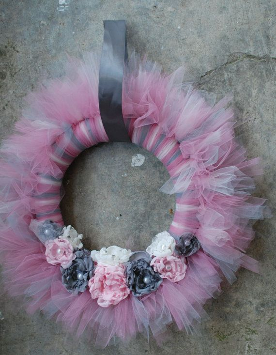 Shabby Chic Tu-Tu Tulle Wreath- Gray Grey and Pink with Chiffon Roses and Pearl Centers- Ready to ship