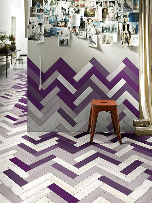 love the floor bleeding up the wall.  love the pattern.  i think green could be a great color there.