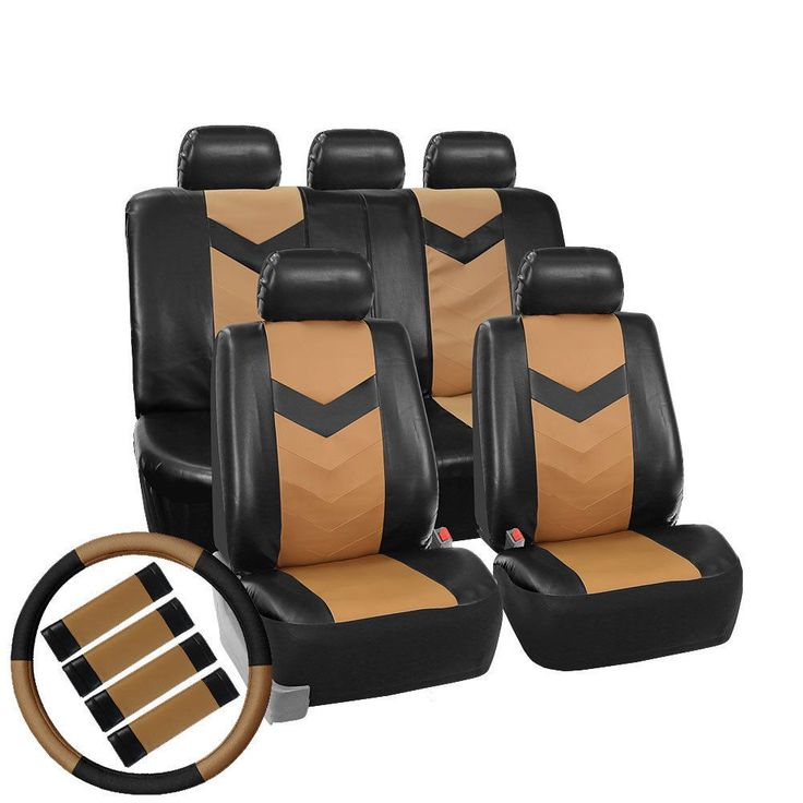 FH Group Tan/ Black Synthetic Leather Car Seat Covers (Full Set) (Tan / Black), Brown