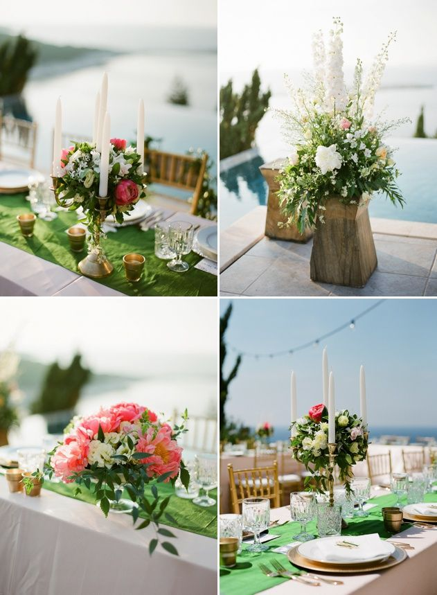 Create a fresh garden feel for your wedding reception with rich flower centrepieces in a collection of different style vases. Flower-candle centrepieces and tall wooden vases next to beautiful beaches of Kefalonia. Photo by Adrian Wood