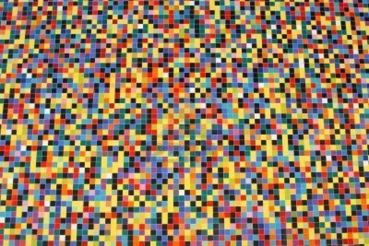perspectiva amplia de coloridos mosaicos patrón en una pared   Foto de archivo