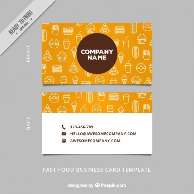 Sketches food business card Free Vector