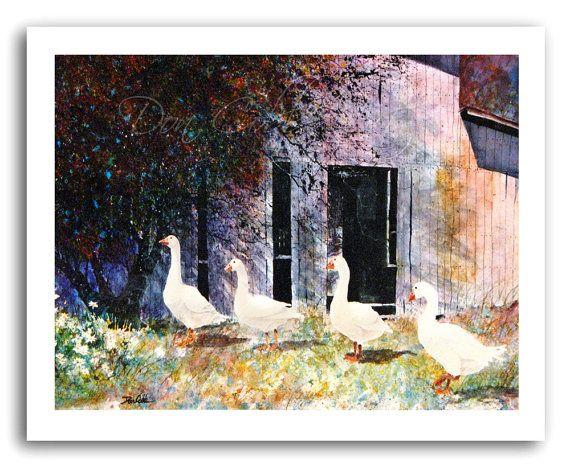 Gans/ganzen boerderij schuur aquarel schilderij door DonCobbArtwork