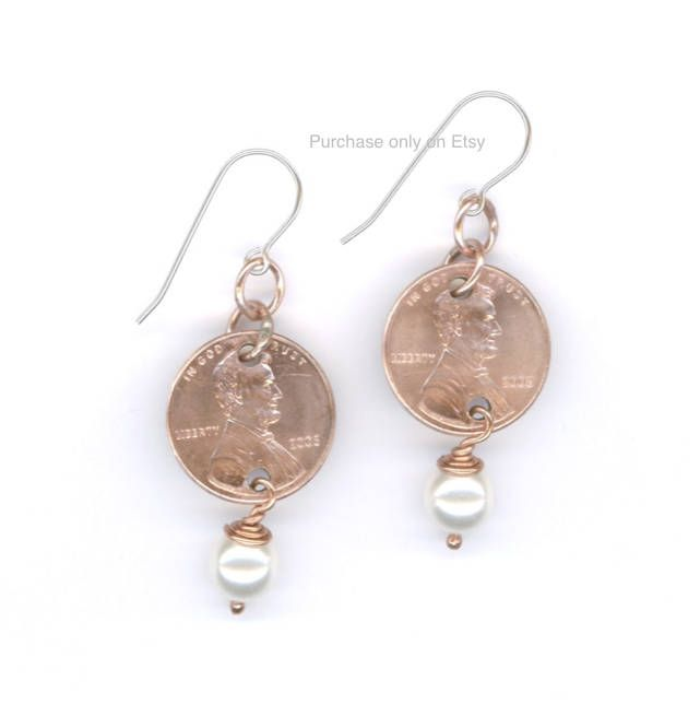 Gift Ideas For Her Handmade 2008 Penny Earrings 10th Anniversary Gift Swarovski Crystal Pearl 2008 Coins June Birthstones by WvWorksJewelry on Etsy