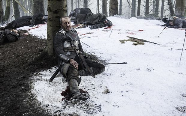In the end, Stannis Baratheon truly seemed a defeated man. He'd murdered his daughter, he'd murdered his brother, his wife had committed suicide, all his men were dead or absconded, and he had been abandoned by the woman who drove him to such heinous acts. And it was all for nothing.