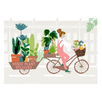 Francesca Iannaccone House Plant Delivery A1 Framed Print: A colourful House Plant Delivery print by Francesca Iannaccone.