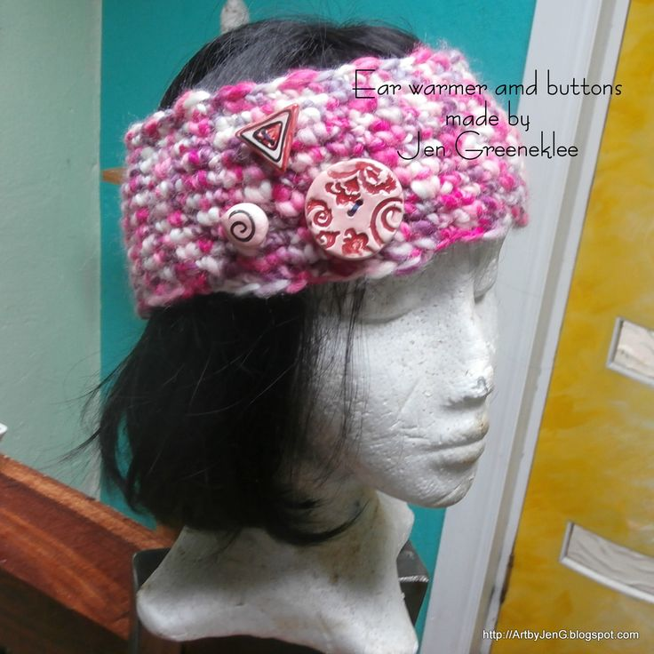 Hand crochet Ear Warmer with Handmade buttons, made by me :D